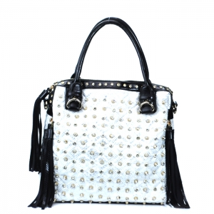 Rocker Style Gold Studded Tote Handbag w/  Black Tassels - White