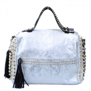 Faux Fashion Forward Snake Skin Pattern Tote w/ Gold Studded Accents - White