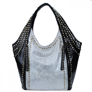 Two Tone Faux Leather Snake Skin Pattern Hanbag w/ Dual Front Zippers - White