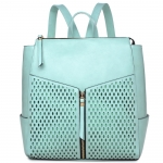 Faux Leather Backpack Style Hangbag - Mint