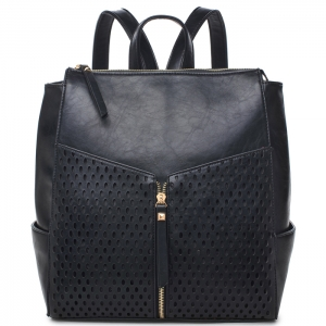 Faux Leather Backpack Style Hangbag - Black
