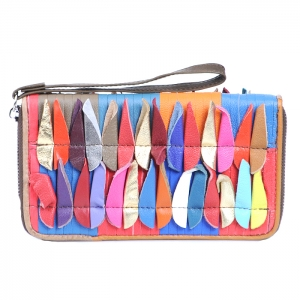 Faux Leather Oval-Shaped Accent Wallet - Multicolor