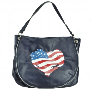 Faux Leather Tote Handbag - Dark Blue