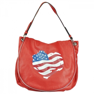 Faux Leather Tote Handbag - Red