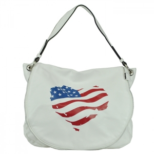 Faux Leather Tote Handbag - White