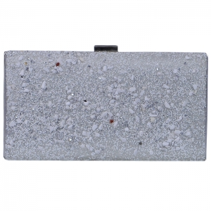 Multicolored Rock Bead Stone Clutch with Strap - Silver