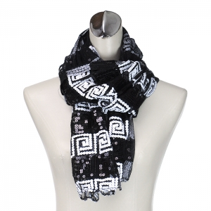 Two Tone Monochromatic Sequence Accent Scarf - Black