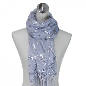 Flower Pattern Sequin Accent Scarf - Silver