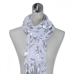 Flower Stamped Sequence Accent Scarf - Silver