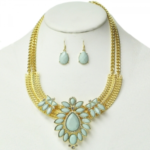Light Mint Floral Accent Necklace on Gold Frame