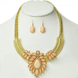 Light Peach Floral Accent Necklace on Gold Frame