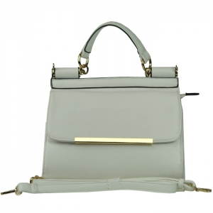 Small Faux Leather Handbag with Gold Trim Accent on Flap - White