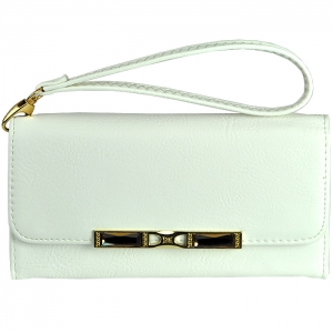 Gold Closure Metal Trim with Stone Two Style Strap Wallet - White