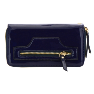 Patent Leather Wallet 32299 - Navy Blue