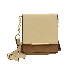 Faux Leather Square Clutch Bag 32305 - Stone / Beige