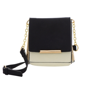 Faux Leather Square Clutch Bag 32305 - White / Black