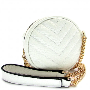 Circle Shaped Faux Leather Messenger Bag - L-0050 - White
