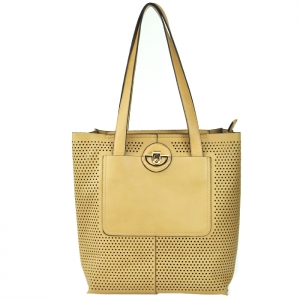 Original Madison West Portfolio Style Perforated Tote - Beige