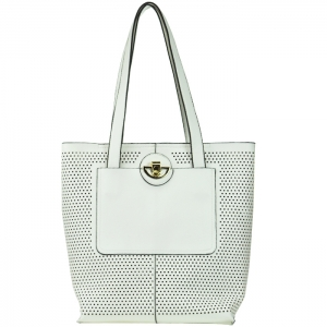 Original Madison West Portfolio Style Perforated Tote - White