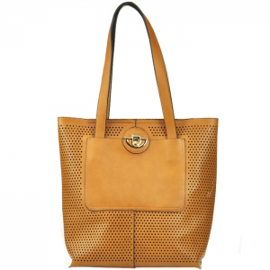 Original Madison West Portfolio Style Perforated Tote - Tan