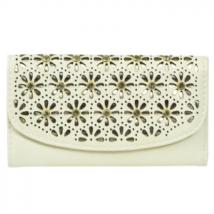 Flower Perforated Glass Stud Accent Wallet - Natural