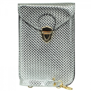 Mini Accessory Handbag with Strap - Silver