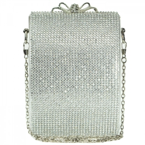Mini Faux Diamond Full Studded Clutch with Bowtie Clasp - Silver