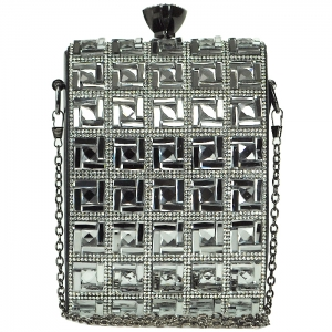 Faux Diamond Square Full-Studded Clutch with Diamond Top Clasp - Black