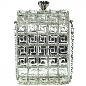 Faux Diamond Square Full-Studded Clutch with Diamond Top Clasp - Silver