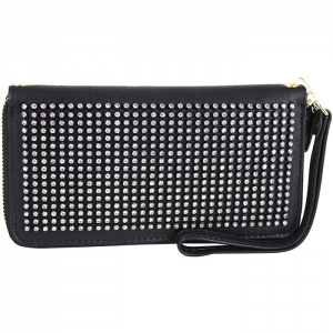 Full Diamond Studded Front Face Wallet with Wristlet and Chain Link Strap - Black