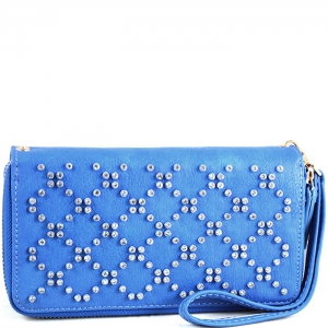 Crisscross Faux Diamond Studded Accent Wallet with Wristlet and Strap - W713P84-XL - Blue