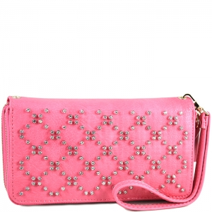 Crisscross Faux Diamond Studded Accent Wallet with Wristlet and Strap - W713P84-XL - Pink