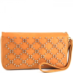 Crisscross Faux Diamond Studded Accent Wallet with Wristlet and Strap - W713P84-XL - Tan