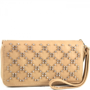Crisscross Faux Diamond Studded Accent Wallet with Wristlet and Strap - W713P84-XL - Taupe