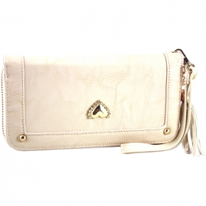 Gold Metal Trim Heart Stud on Front Two Gold Studs Wallet - Beige