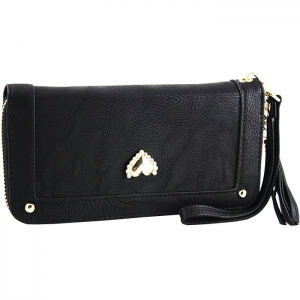 Gold Metal Trim Heart Stud on Front Two Gold Studs Wallet - Black