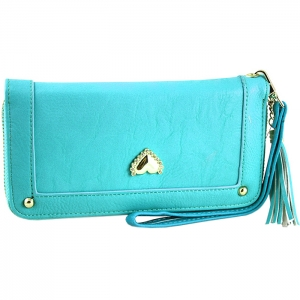 Gold Metal Trim Heart Stud on Front Two Gold Studs Wallet - Blue