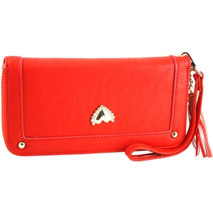 Gold Metal Trim Heart Stud on Front Two Gold Studs Wallet - Coral