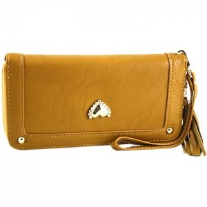 Gold Metal Trim Heart Stud on Front Two Gold Studs Wallet - Tan