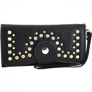 Front Studded Accent Clasp Closure Wallet - Black