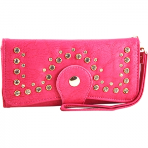 Front Studded Accent Clasp Closure Wallet - Fuchsia