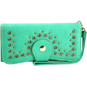 Front Studded Accent Clasp Closure Wallet - Green