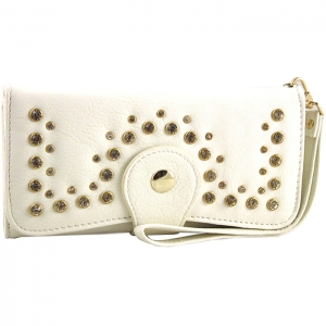 Front Studded Accent Clasp Closure Wallet - Ivory