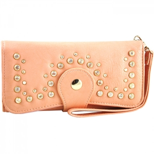 Front Studded Accent Clasp Closure Wallet - Peach