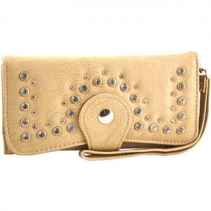 Front Studded Accent Clasp Closure Wallet - Taupe
