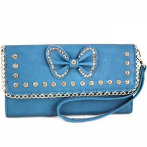 Bow Accent Rhinestone Wallet with Wristlet - W761# - Navy