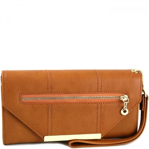 Triangle Accent Flap Gold Tone Frame Wallet with Wristlet - w766# - Brown