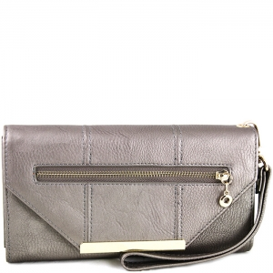 Triangle Accent Flap Gold Tone Frame Wallet with Wristlet - w766# - Pewter