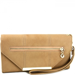 Triangle Accent Flap Gold Tone Frame Wallet with Wristlet - w766# - Taupe