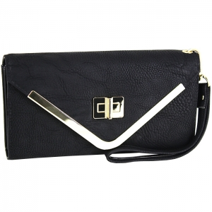 Gold Metal Triangle Accent Closure Wallet - Black